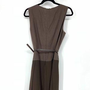 Rene Lezard Dresses - Rene Lezard belted pleated brown dress